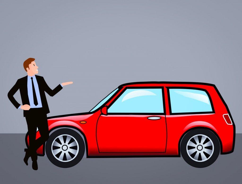 איש מציג רכב