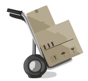 עגלה מעבירה קופסאות